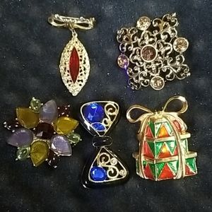 5 Vintage Rhinestone Brooches by Designers LE, Jny